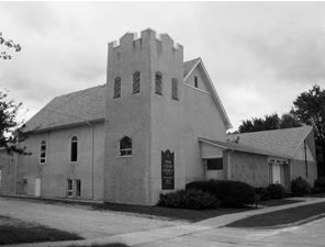Selkirk United Church black and white